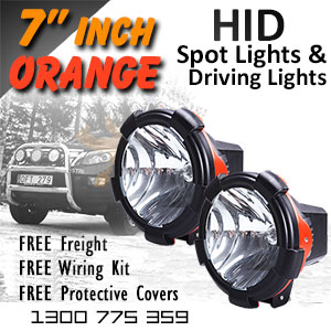 DR500 7 Inch HID Spot and Driving Lights Orange