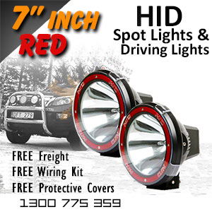 DR500 7 Inch HID Spot and Driving Lights Red