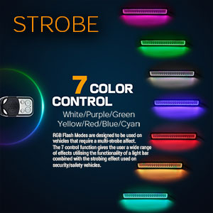 Strobing LED Light Bar Colours