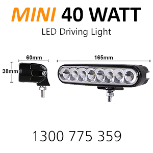 Dimensons and size of the 40w mini light bar