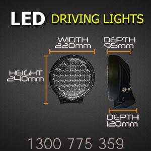 LED Driving Lights 9 Inch 370 Watt CREE Dimensions