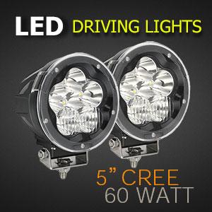 LED Driving Light - 5 Inch 60 Watt - Heavy Duty