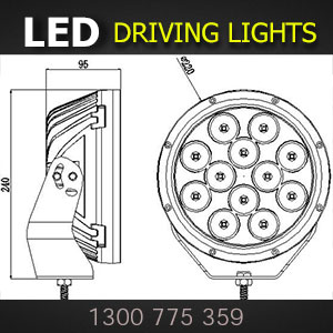 LED Spot Lights 9 Inch 180 Watt Dimensions