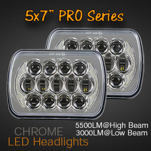 Chrome 7x5 Inch LED Truck Headlights