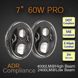 ADR Compliant LED Headlight with Halo