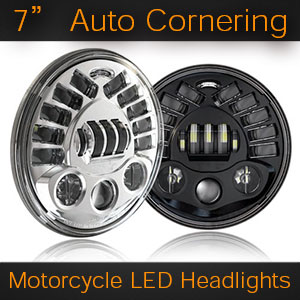 Auto Stabalizing LED headlights for Motorcycles | 7 Inch
