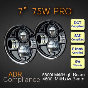High Powered 75 Watt LED headlight
