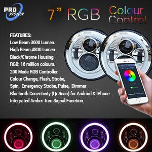 Multi-Coloured 7 Inch LED Headlight