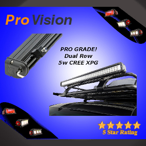 Pro Dual Row 5 Watt CREE LED Light Bar with a Base Mount on a Slide Rail