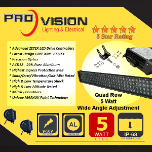 Pro QUAD Row 5 Watt LED Light Bar with a Base Mount on a Slide Rail