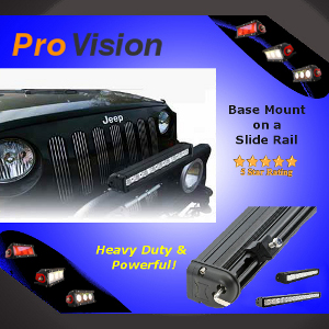 Pro Single Row 10 Watt LED Light Bar with a Base Mount on a Slide Rail