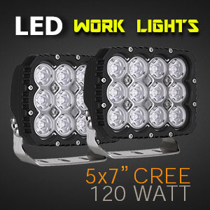 LED Work Light | Heavy Duty 5x7 Inch 120 Watt