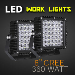 LED Work Light | Heavy Duty 8 Inch 360 Watt