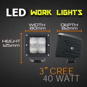 LED Work Light | 3 Inch 40 Watt Spot and Flood Beam Dimensions