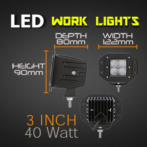 LED Work Light | Flush Mount | 3 Inch 40 Watt Reverse Light Sizes