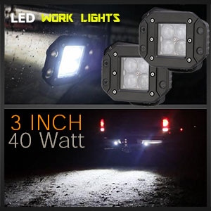 LED Work Light | Flush Mount | 3 Inch 40 Watt Reverse Light Illumination