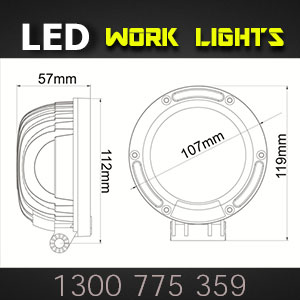 LED Work Lights 4 Inch 50 Watt Pro Series Dimensions