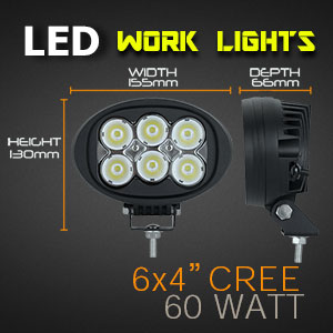 LED Work Light | Oval 4x6 Inch 60 Watt Features Dimensions
