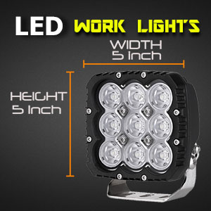 LED Work Light | Heavy Duty 5 Inch 90 Watt Dimensions
